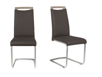Harveys Kendal Cantilever Dining Chair Pair Leather Brown brown leather