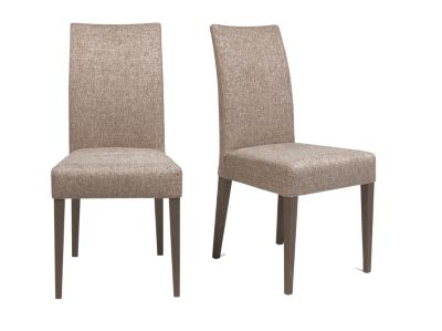 Harveys Piston Dark Oak Dining Chair Pair Fabric brown fabric
