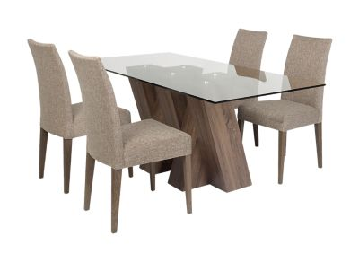 Harveys Piston Table 4 Fabric Chairs dark oak