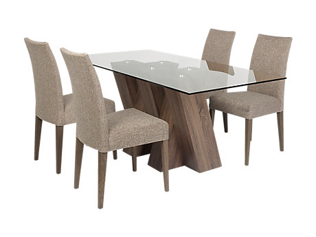 Piston Table 4 Brown Fabric Chairs