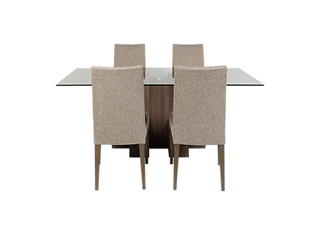Piston Table & 4 Brown Fabric Chairs