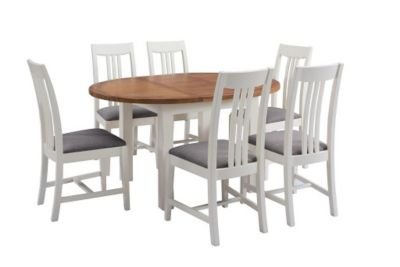 Harveys Toulouse Painted Round Extending Dining Table & 6 Slatted Wood Chairs painted