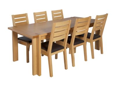 Claremount Oak Extending Dining Table & 6 Brown Leather Seat Pad Chairs