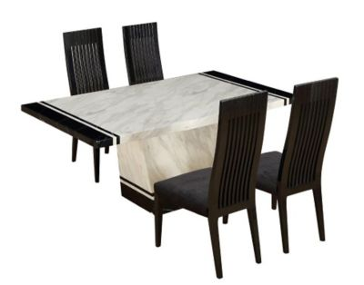 Harveys Mykonos Dining Table 4 Chairs white black marble
