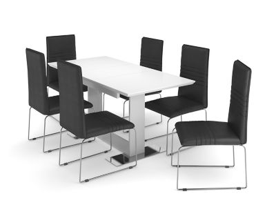 Nova Extending Dining Table & 6 White Chairs