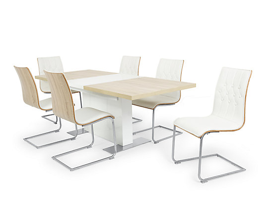 Vieux Extending Dining Table 6 White Chairs