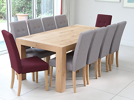 Lindos Dining Table & 8 Grey + 2 Red Lucy Chairs