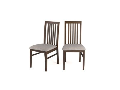 Hampshire Dark Wooden Chairs With Fabric Seat Pads (Pair)