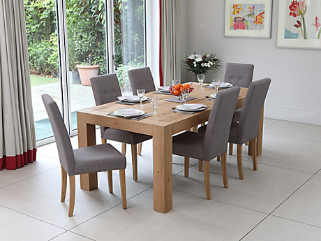 Lindos Dining Table & 8 Grey Lucy Chairs