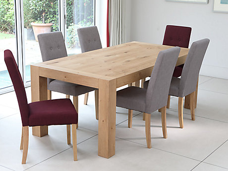 Lindos Dining Table & 6 Grey + 2 Red Lucy Chairs
