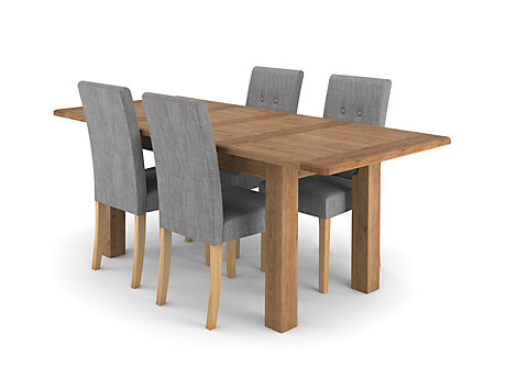 Calais Extending Dining Table & 4 Grey Lucy Chairs