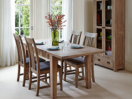 Toulouse Extending Dining Table & 4 Slatted Chairs