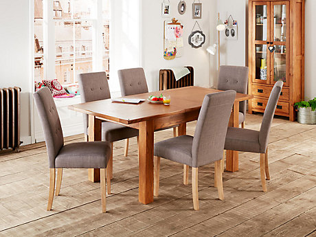 Toulouse Extending Dining Table & 4 Grey Lucy Chairs