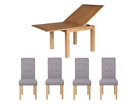 Toulouse Flip Top Extending Dining Table 4 Grey Lucy Chairs