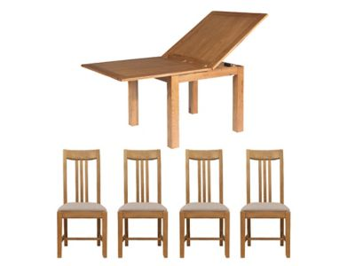 Toulouse Flip Top Extending Dining Table & 4 Slatted Chairs