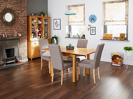 Brookes Square Extending Dining Table & 4 Grey Lucy Chairs