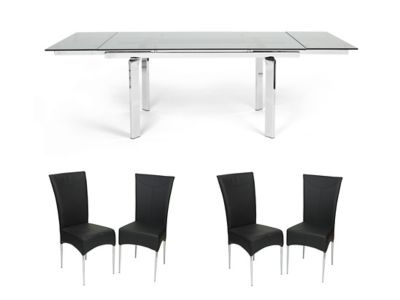 Jarrow Clear Extending Dining Table & 4 Marilyn Chairs