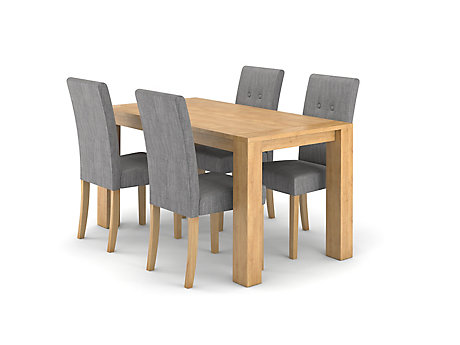Dovetail Fixed Dining Table 4 Lucy Chairs