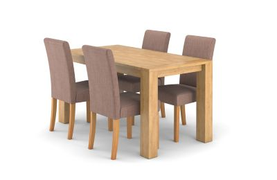 Dovetail Fixed Dining Table & 4 Taya Chairs