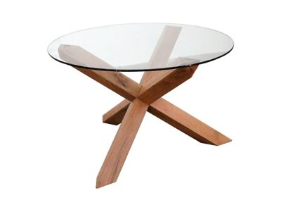Lagoona Round Glass Top Dining Table Oak For Go
