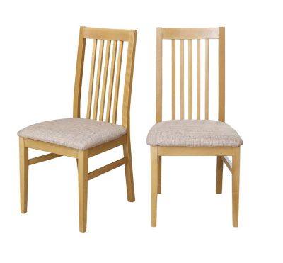 Hampshire Wooden Chairs With Fabric Seat Pads (Pair)