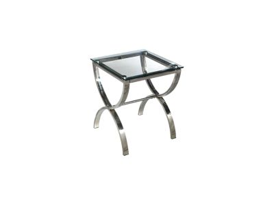Harveys Cross Lamp Table Stainless Steel Frame glass