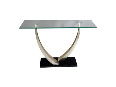 Harveys Crest Console Table  Steel Frame Finish steel  glass
