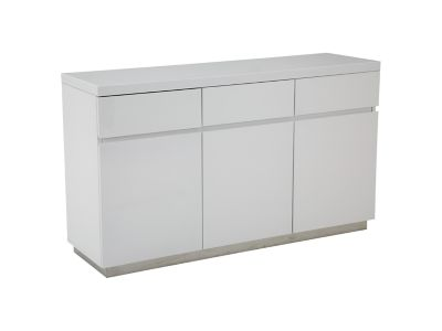 Harveys Nova Sideboard In White Gloss Finish gloss  steel
