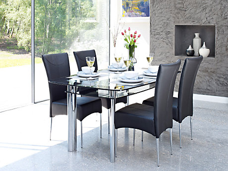 Metal And Glass New Marilyn Chairs In Black (Pair)