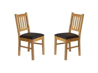 Harveys Brookes Wooden Chairs (Pair) Oak