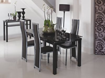 Noir Extending Dining Table & 4 Black/Chrome Upholstered Chairs