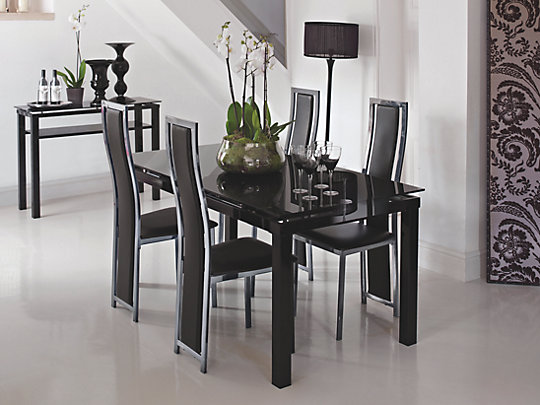 Noir Extending Dining Table amp 4 BlackChrome Upholstered  : 998139blackglassIS0cdp from bestdealsonfurniture.co.uk size 540 x 405 jpeg 24kB
