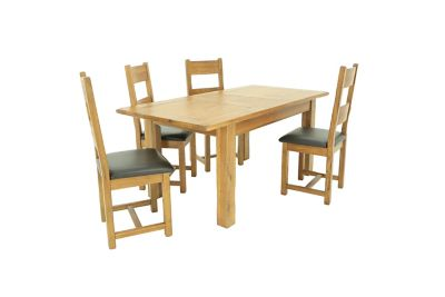Toulouse Extending Dining Table & 4 Solid Wood Chairs