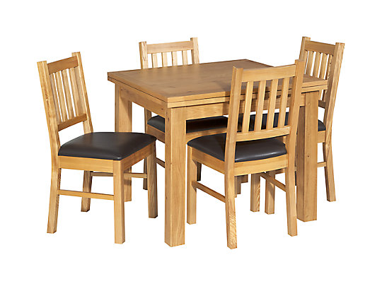 Brookes Square Extending Dining Table 4 Wooden Chairs Brown Seat Pad