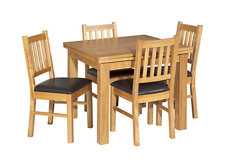 Brookes Square Extending Dining Table & 4 Wooden Chairs (Brown Seat Pad)