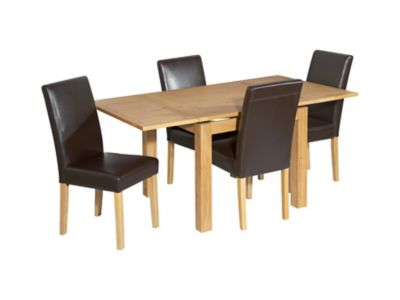 Harveys Brookes Square Extending Dining Table & 4 Bella Chairs oak