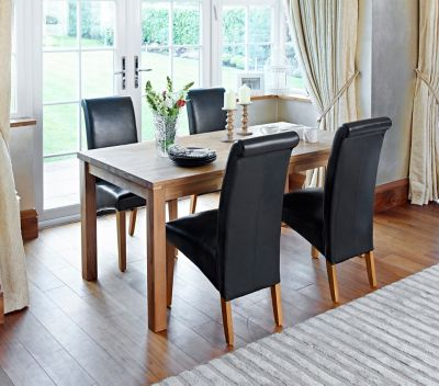 Sierra Dining Table & 4 Darcy Leather Effect Chairs