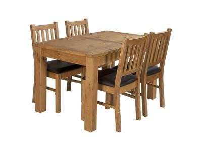 Brookes Extending Dining Table & 4 Wooden Chairs (Brown Seat Pad)
