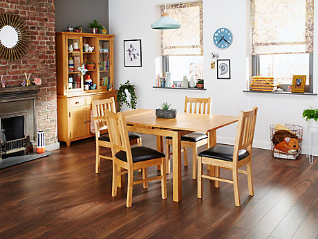brookes extending dining table u0026 4 wooden chairs brown seat - Oak Table And Chairs