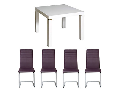 Morano Square Dining Table & 4 Alcora Chairs