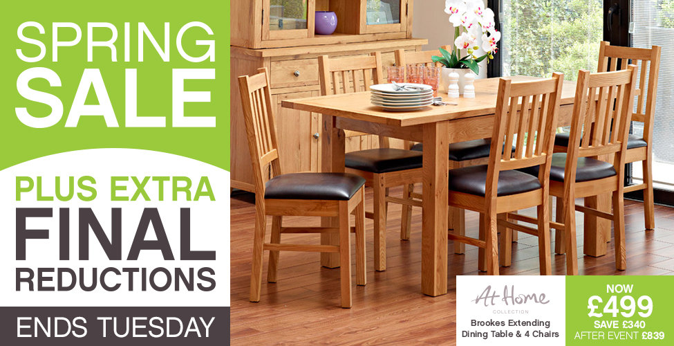 Harveys Spring Sale - Brookes Square Extending Dining Table & 4 Wooden Chairs