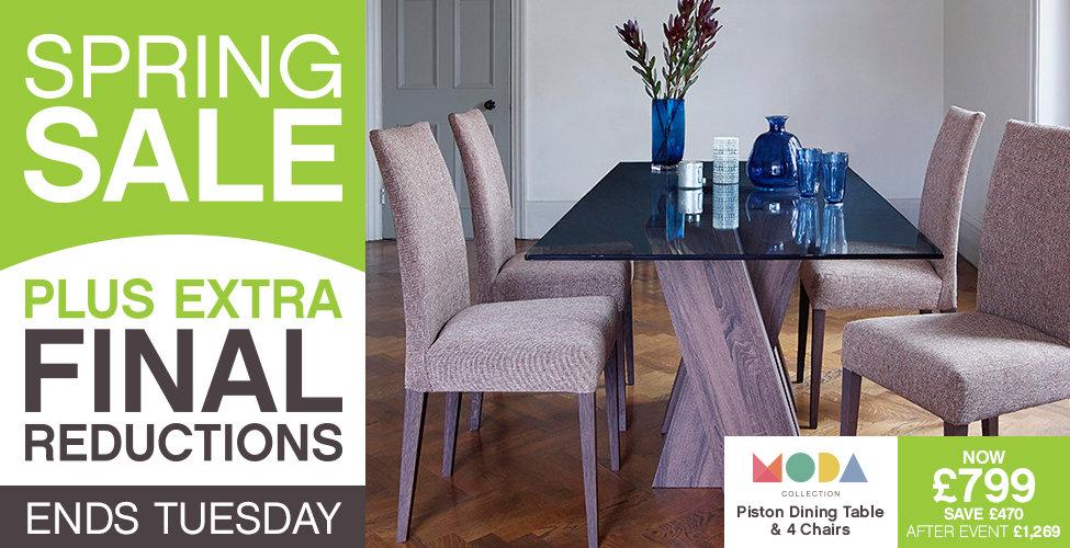 Harveys Spring Sale - Piston Dining Table & 4 Fabric Chairs