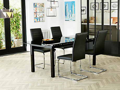 Noir Extending Dining Table & 4 Alcora Chairs