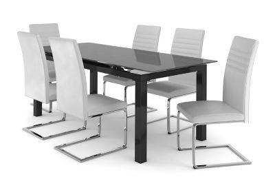 Harveys Noir Extending Dining Table & 6 White Alcora Chairs 6 white alcora chairs, Table Shape: Rectangular
