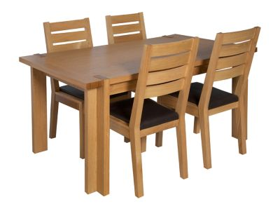 Claremount Oak Standard Dining Table & 4 Brown Leather Seat Pad Chairs