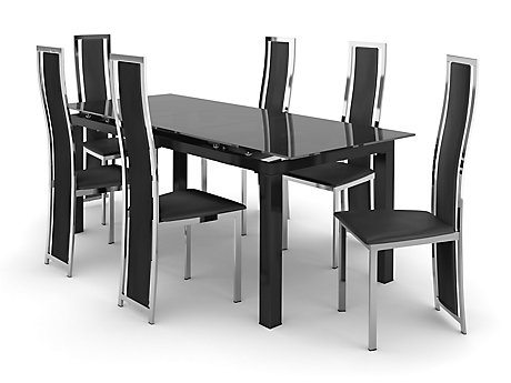 Noir Extending Dining Table U0026 6 Black/Chrome Upholstered Chairs ...