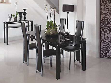 noir extending dining table 6 blackchrome upholstered chairs - Extending Dining Table And Chairs