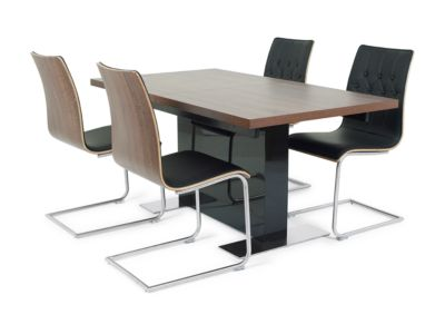Extending Dining Table & 6 Chairs In Black - Harveys Vieux