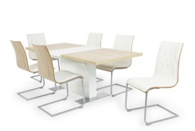 Vieux Extending Dining Table & 6 White Chairs