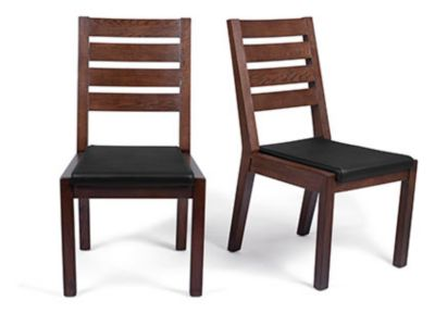 Harveys Claremount Dark Solid Wood Dining Chair Pair Leather walnut/leather